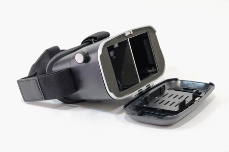Black virtual reallity headset ready to use. Stereoscopic vision gadget used in 3d experience