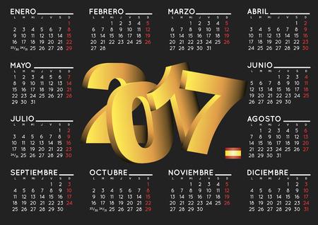 almanac: 2017 elegant black calendar in spanish. Year 2017 calendar. Calendar 2017. calendario 2017.