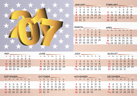 calendar: 2017 calendar in english With an USA flag as background. Year 2017 calendar. Calendar 2017. Week starts on sunday Illustration
