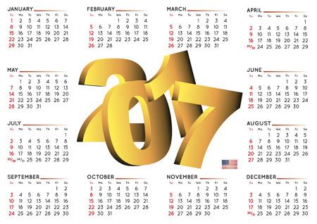 calendrier: 2017 calendrier en anglais. Année 2017 calendrier. Calendrier 2017. La semaine commence le dimanche