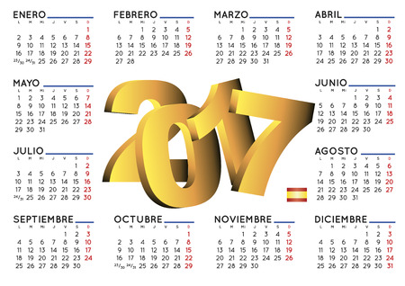 calendar september: 2017 elegant calendar in spanish. Week starts on monday. Year 2017 calendar. Calendar 2017. calendario 2017.
