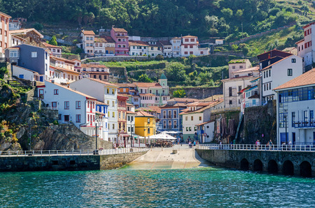 Detail on the harbor of the turistic town of Cudillero in Asturias, Spain