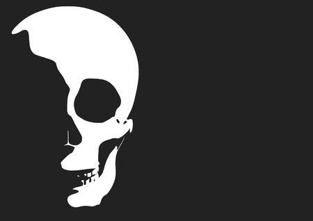 horrible: Horrible skull appearing from the darkness with creepy shadows in halloween. vector illustration