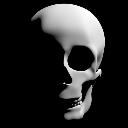 bad eyes: Horrible skull appearing from the darkness with creepy shadows in halloween. 3d rendering. 3d illustration