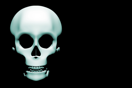 darkness: Horrible skull in blue appearing from the darkness with creepy shadows in halloween. Copy space. 3d rendering. 3d illustration Stock Photo