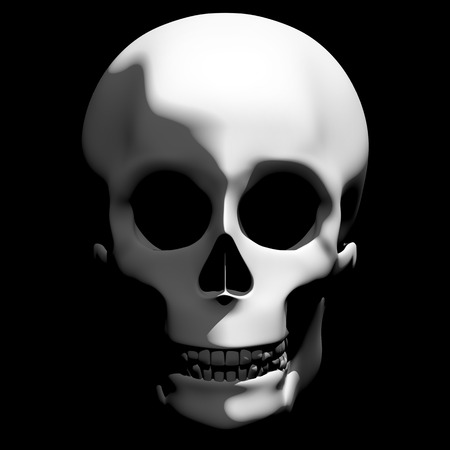 horrible: Horrible skull appearing from the darkness with creepy shadows in halloween. 3d rendering. 3d illustration