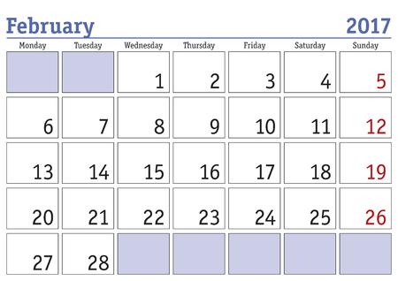 scheduler: Simple digital calendar for february 2017. Vector printable calendar. Monthly scheduler. Week starts on Monday. English calendar Illustration