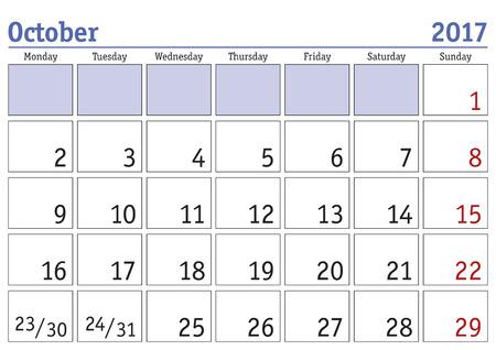 calendario octubre: calendario digital simple para octubre de 2017. Vector calendario imprimible. planificador mensual. La semana empieza el lunes. calendario Inglés Vectores