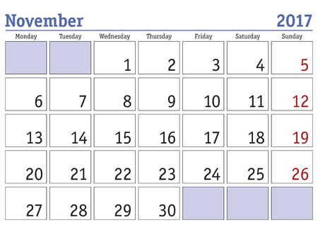 calendario noviembre: calendario digital simple para noviembre de 2017. Vector calendario imprimible. planificador mensual. La semana empieza el lunes. calendario Inglés Vectores