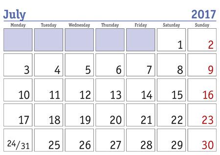 monthly planner: Simple digital calendar for july 2017. Vector printable calendar. Monthly scheduler. Week starts on Monday. English calendar Illustration