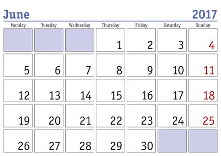scheduler: Simple digital calendar for june 2017. Vector printable calendar. Monthly scheduler. Week starts on Monday. English calendar