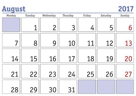 scheduler: Simple digital calendar for august 2017. Vector printable calendar. Monthly scheduler. Week starts on Monday. English calendar