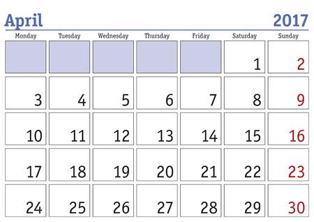 scheduler: Simple digital calendar for april 2017. Vector printable calendar. Monthly scheduler. Week starts on Monday. English calendar