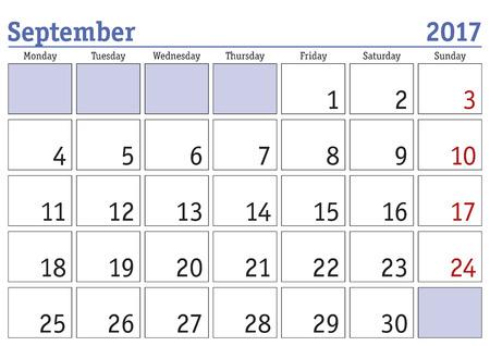 scheduler: Simple digital calendar for september 2017. Vector printable calendar. Monthly scheduler. Week starts on Monday. English calendar