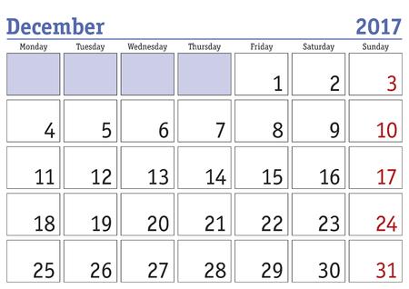 Prosty cyfrowy kalendarz na grudzień 2017 Wektor wydruku kalendarza. scheduler miesięcznie. Tydzień zaczyna się w poniedziałek. angielski kalendarza