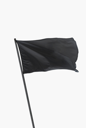 Black flag waving on the wind isolated over white Stockfoto