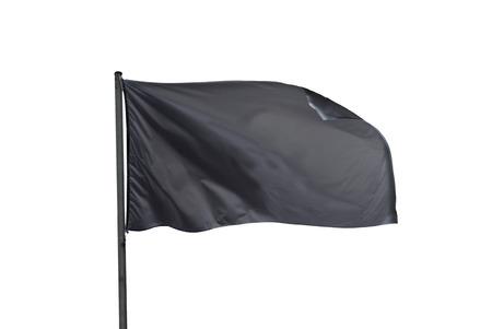 llanura: bandera negro ondeando en el viento aislado más de blanco