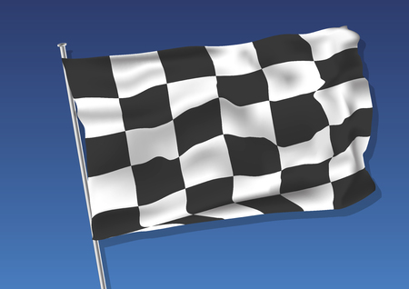 checked flag: Chequered flag waving on the sky. vector illustration eps 10. gradient mesh