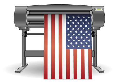 Plotter printing a large USA flag. Inkjet printer with a large format. ploter