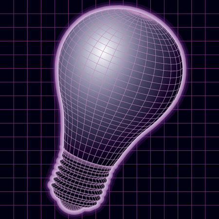 mesh structure: wireframe light bulb dmade with a vector mesh structure. vector illustration Illustration