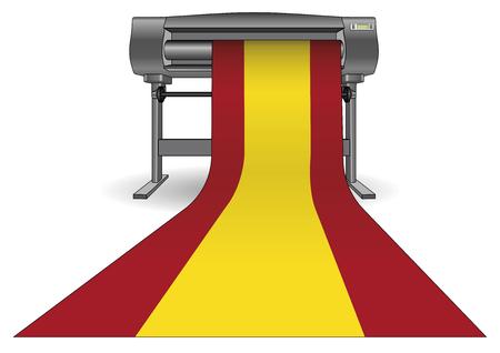 Plotter printing a large spain flag. Inkjet printer with a large format. ploter Illustration