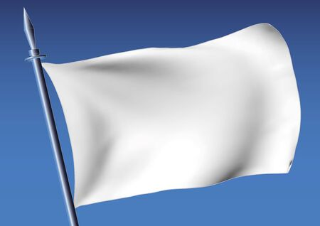 customizable: flag in white waving over the sky. customizable vector illustration Illustration