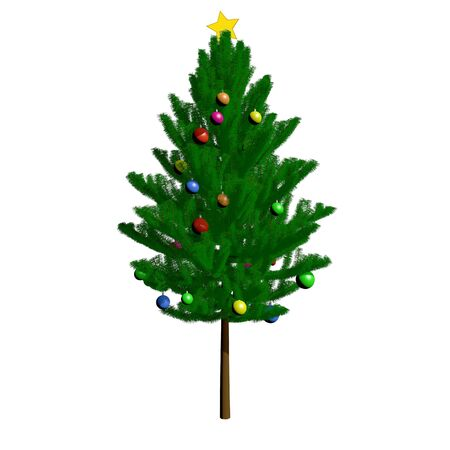 Christmas tree isolated over white. 3d rendering 3d illustration