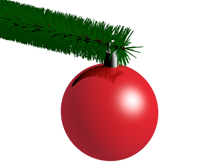 branch isolated: red christmas ball hanging on the xmas tree branch. christmas decoration isolated on white. 3d render. 3d illustration