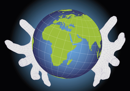 Two hands Protecting earth planeth