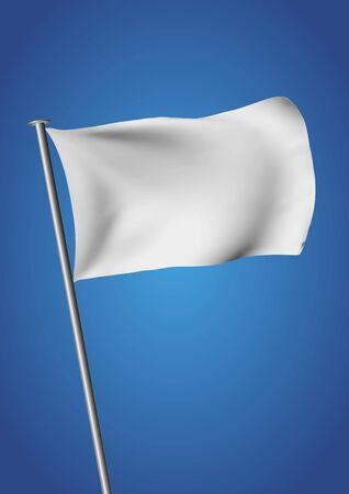 white flag: white flag waving over the sky. customizable vector illustration