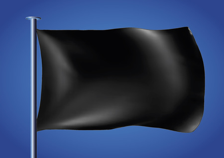 customizable: black flag waving over the sky. customizable vector illustration