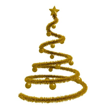 xmas star: golden xmas tree isolated over white. golden tinsel, star and balls. 3d rendering, 3d illustration