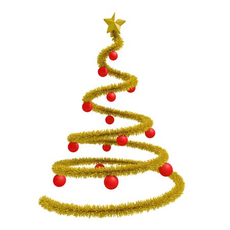 xmas star: golden xmas tree isolated over white. golden tinsel and star, red balls. 3d rendering, 3d illustration