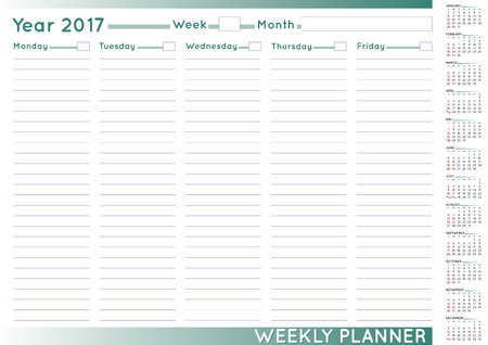 2017 Weekly planner or scheduler with a 2017 calendar. Size A-3. You can put day and week numbers and month names at your own.