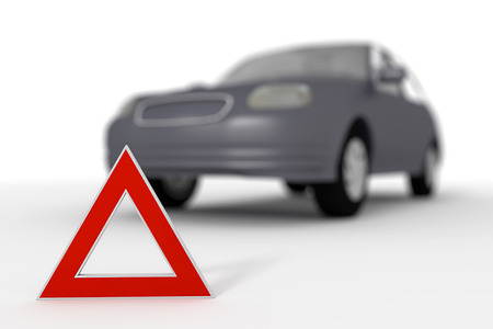 Warning triangle for a broken down car. Depth of field effect. 3d render, 3d illustration