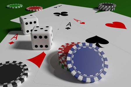 Dices, poker cards and casino tokens. Gambling and bet games background. 3d render, 3d illustration
