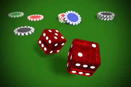 Red rolling dices background. seven points. gambling and casino game. 3d render, 3d illustration