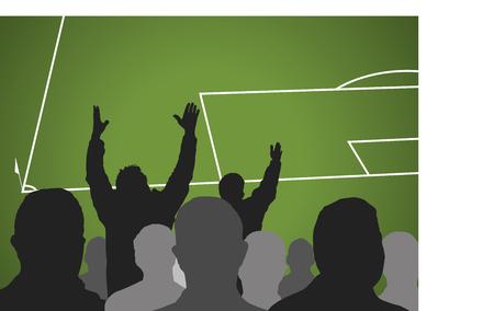 arbitro: Los aficionados al fútbol en un partido. espectadores furiosos queja sobre una mala decisión del árbitro