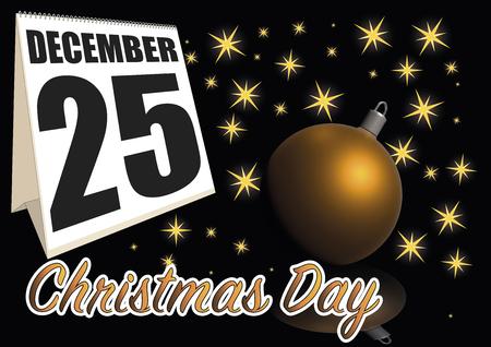 december 25: christmas day date in the calendar. December, 25
