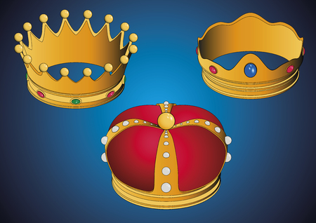 Las tres coronas de los Reyes Magos, Three wise men crowns. Vector illustration. Spanish typical celebration