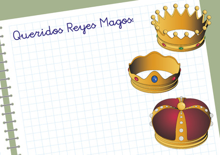 Carta a los reyes magos. Three Wise Men letter. Spanish tradition on january, 6 Illustration