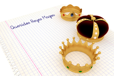 Carta a los reyes magos. Spanish tradition on january, 6 where the three wise men receive letters from children and so bring them gifts on the night before Epiphany. 3d render, 3d illustration Фото со стока