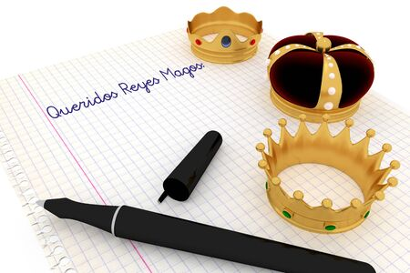 melchor: Carta a los reyes magos. Spanish tradition on january, 6 where the three wise men receive letters from children and so bring them gifts on the night before Epiphany. 3d render, 3d illustration Stock Photo