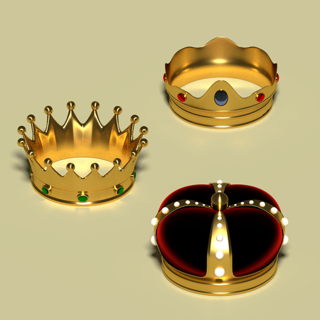 Three different royal crowns made in gold and gems. Luxury jewelry. Monarchy concept. 3d render, 3d illustration
