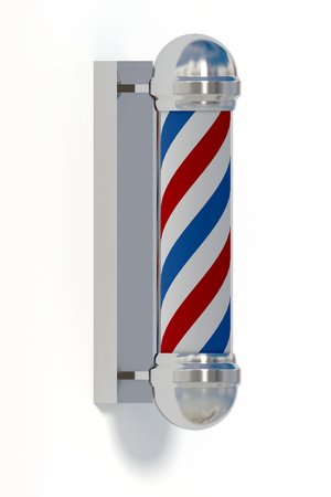 cilinder: traditional barber shop symbol made in shiny metal and glass with an striped cilinder that makes an optical effect. 3d render, 3d illustration Stock Photo