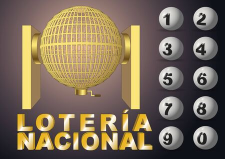loosening: Circled golden lottery cage with numbers. National lottery. Bombo de loteria nacional. vector illustration