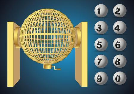 Circundado jaula de oro de la lotería con los números. Loteria Nacional. Bombo Nacional de lotería. ilustración vectorial Vectores