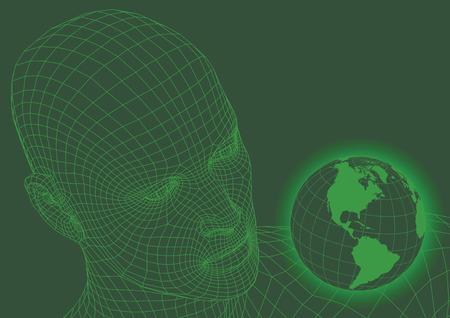 ワイヤ フレーム頭部の世界を見てします。未来のコンセプト。ベクトル図