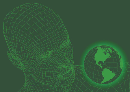 Wireframe human head looking at the world. futuristic concept. vector illustration Иллюстрация