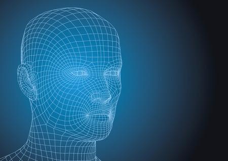 Wireframe testa umana. nuovo concetto di tecnologie. futuristico illustrazione vettoriale